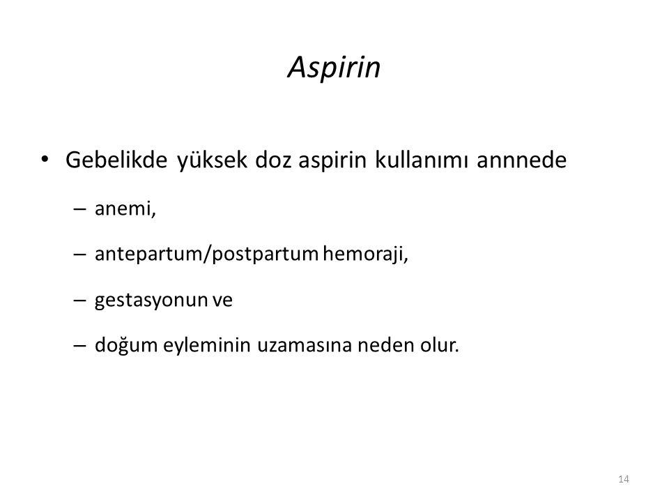 Aspirin Gebelikde yüksek doz aspirin kullanımı annnede anemi,