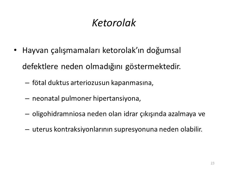 Ketorolak Hayvan çalışmamaları ketorolak'ın doğumsal defektlere neden olmadığını göstermektedir. fötal duktus arteriozusun kapanmasına,