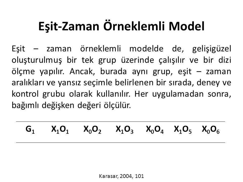 Eşit-Zaman Örneklemli Model