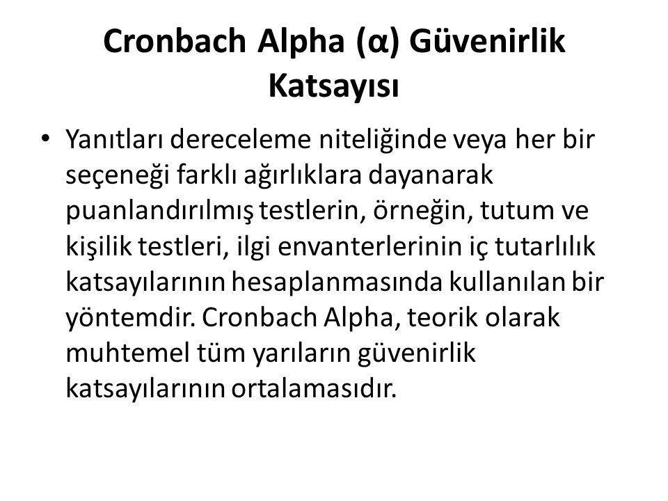 Cronbach Alpha (α) Güvenirlik Katsayısı