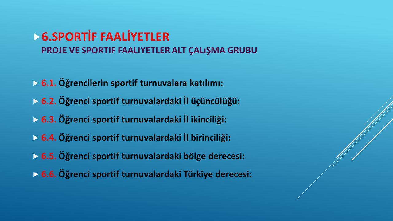 6.SPORTİF FAALİYETLER Proje ve sportif Faaliyetler Alt çalışma grubu