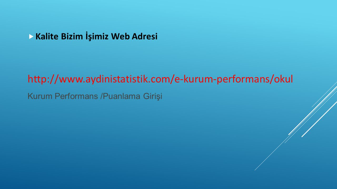Kalite Bizim İşimiz Web Adresi