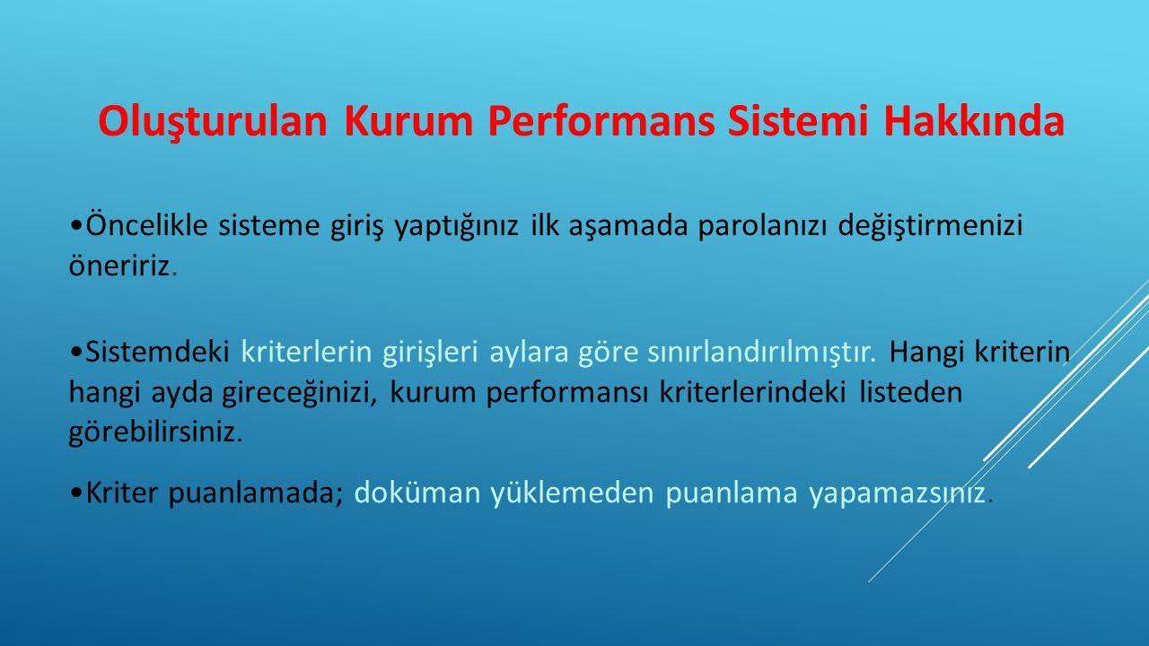 Oluşturulan Kurum Performans Sistemi Hakkında