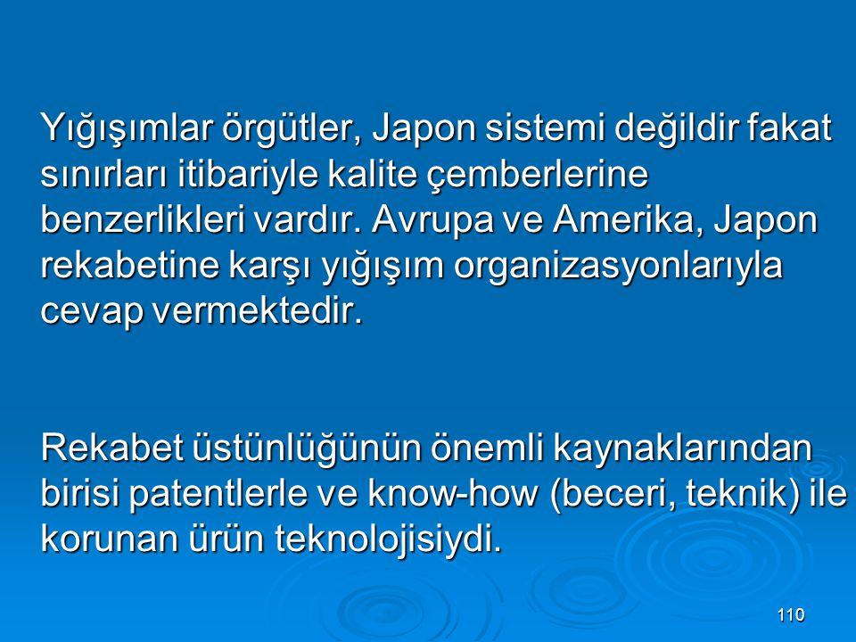 Yığışımlar örgütler, Japon sistemi değildir fakat sınırları itibariyle kalite çemberlerine benzerlikleri vardır.