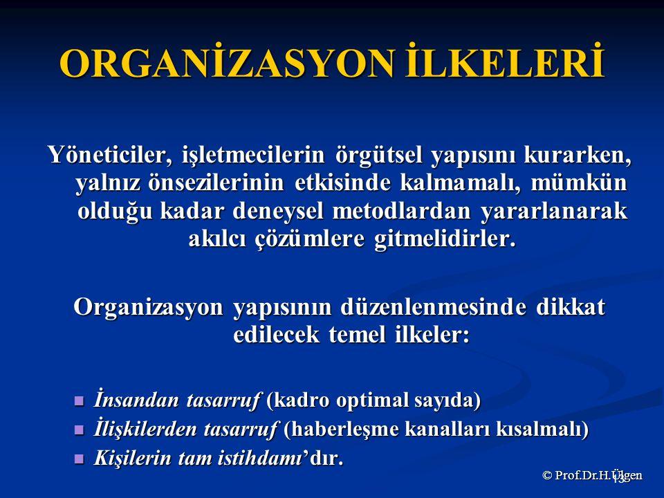 ORGANİZASYON İLKELERİ