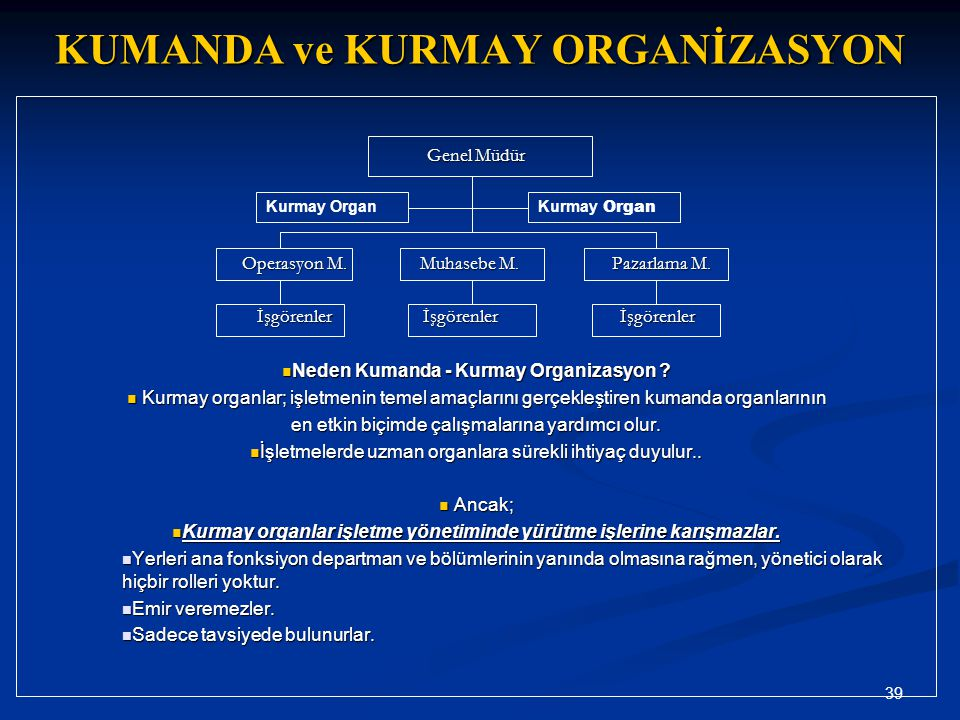 KUMANDA ve KURMAY ORGANİZASYON