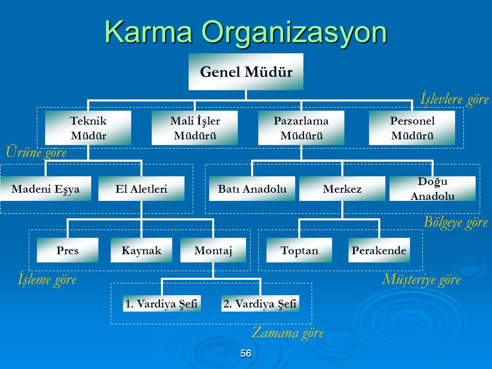 Karma Organizasyon Genel Müdür İşlevlere göre Ürüne göre Bölgeye göre