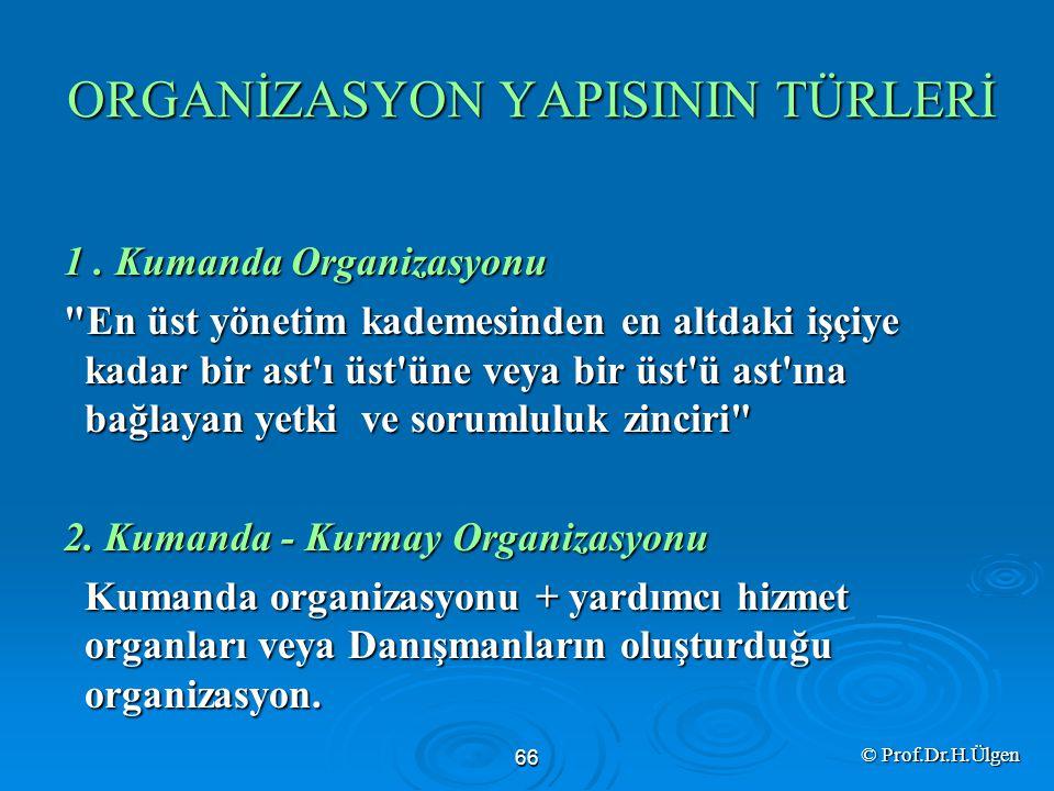 ORGANİZASYON YAPISININ TÜRLERİ