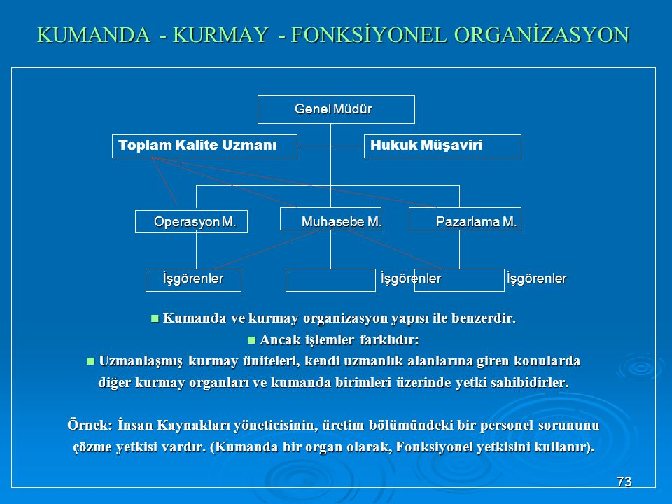 KUMANDA - KURMAY - FONKSİYONEL ORGANİZASYON