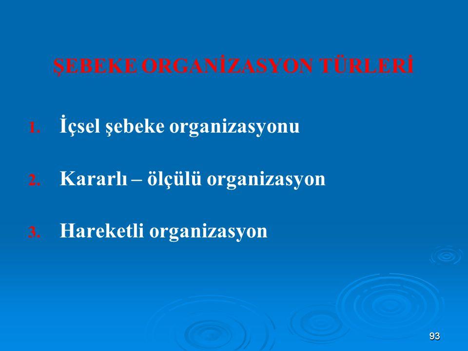 ŞEBEKE ORGANİZASYON TÜRLERİ