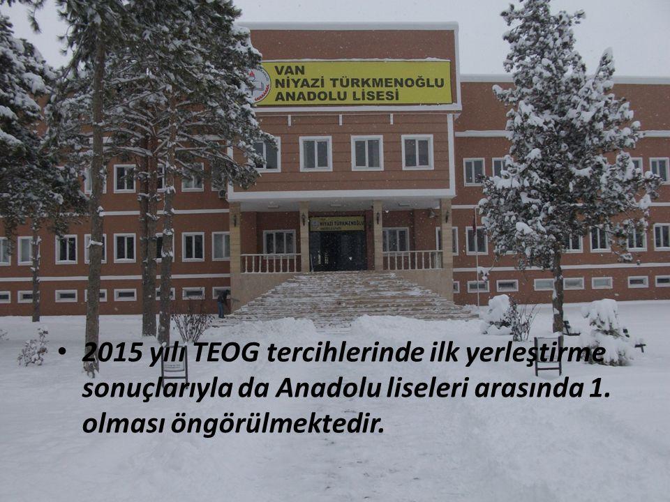 2015 yılı TEOG tercihlerinde ilk yerleştirme sonuçlarıyla da Anadolu liseleri arasında 1.