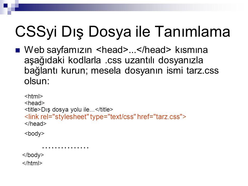 CSSyi Dış Dosya ile Tanımlama