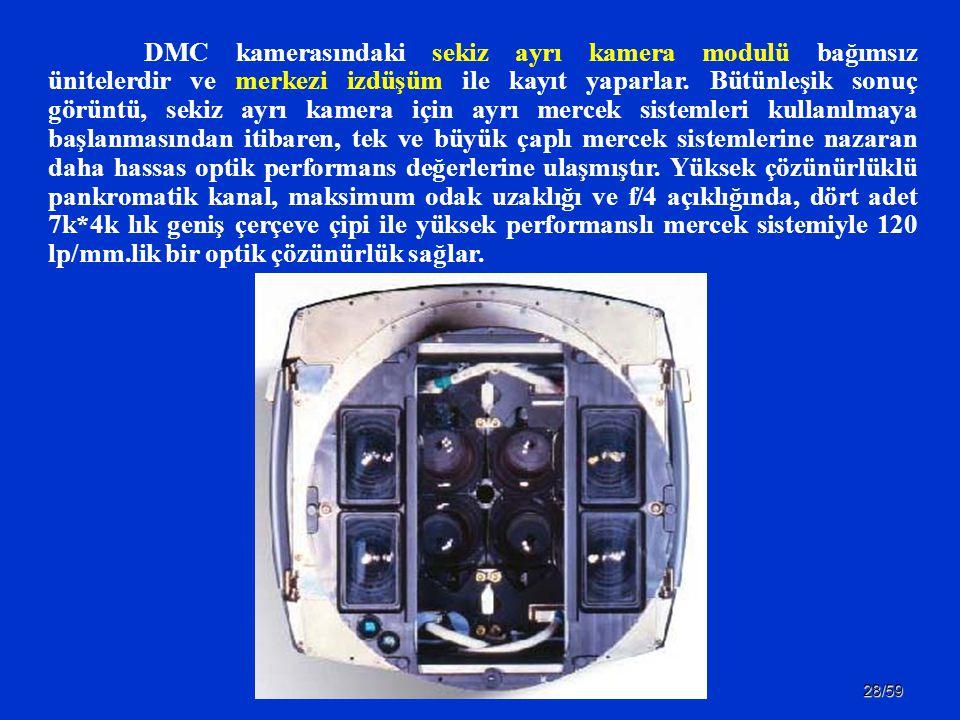DMC kamerasındaki sekiz ayrı kamera modulü bağımsız ünitelerdir ve merkezi izdüşüm ile kayıt yaparlar.