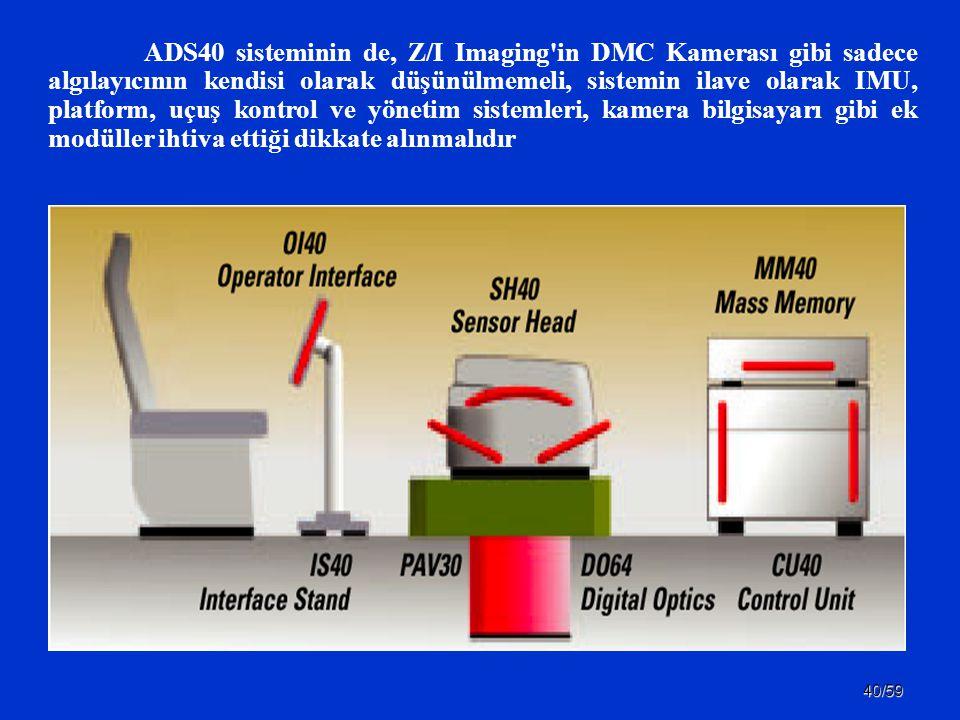 ADS40 sisteminin de, Z/I Imaging in DMC Kamerası gibi sadece algılayıcının kendisi olarak düşünülmemeli, sistemin ilave olarak IMU, platform, uçuş kontrol ve yönetim sistemleri, kamera bilgisayarı gibi ek modüller ihtiva ettiği dikkate alınmalıdır