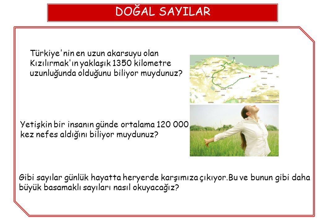 DOĞAL SAYILAR Türkiye nin en uzun akarsuyu olan Kızılırmak ın yaklaşık 1350 kilometre uzunluğunda olduğunu biliyor muydunuz