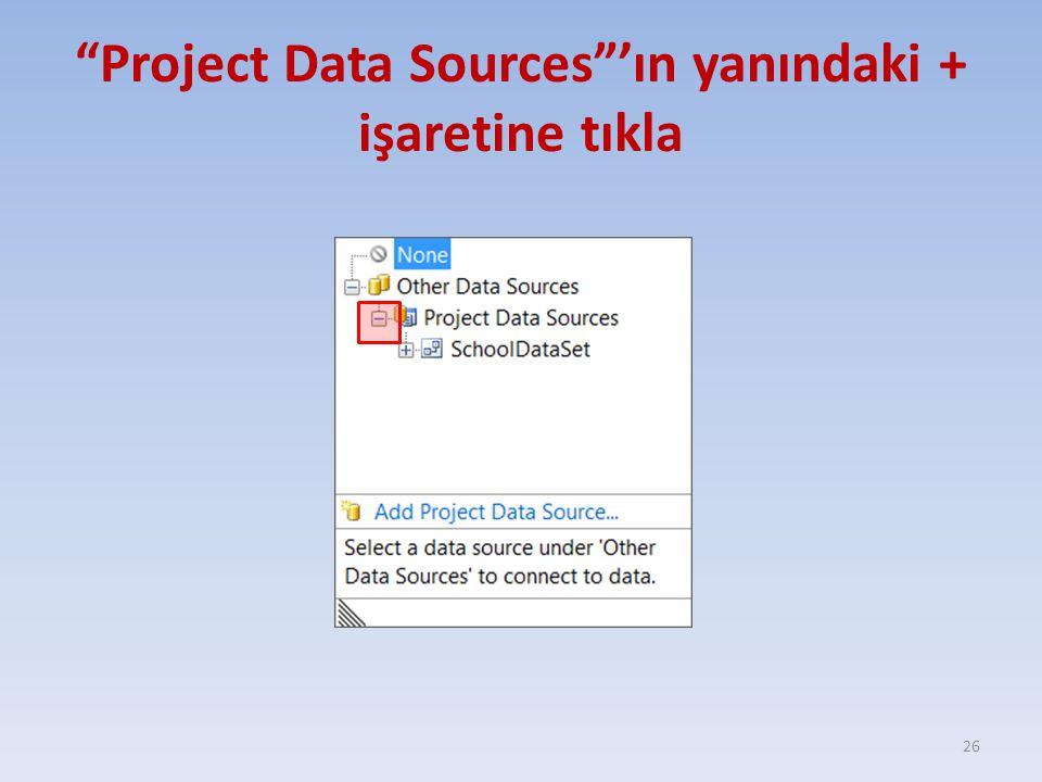 Project Data Sources 'ın yanındaki + işaretine tıkla