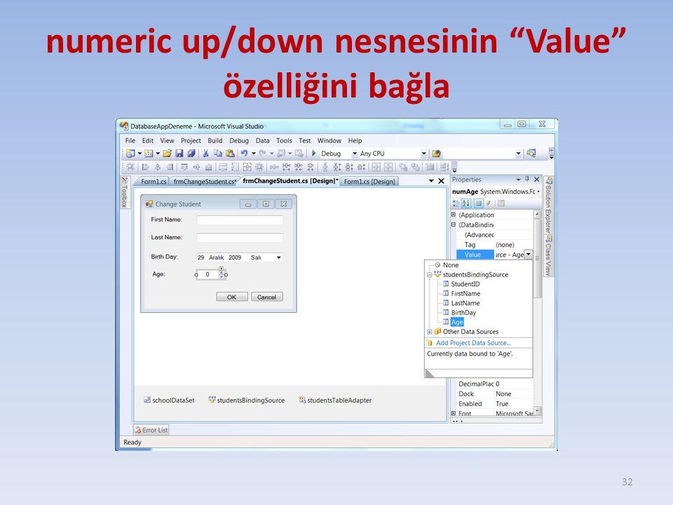 numeric up/down nesnesinin Value özelliğini bağla