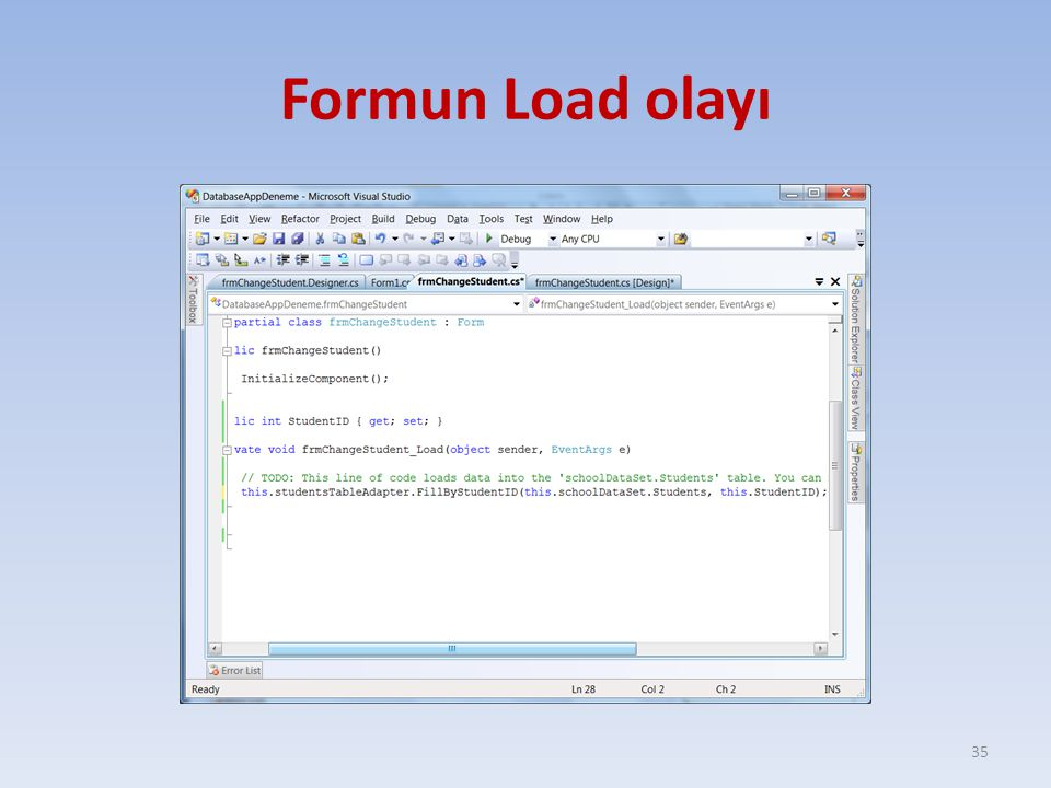 Formun Load olayı