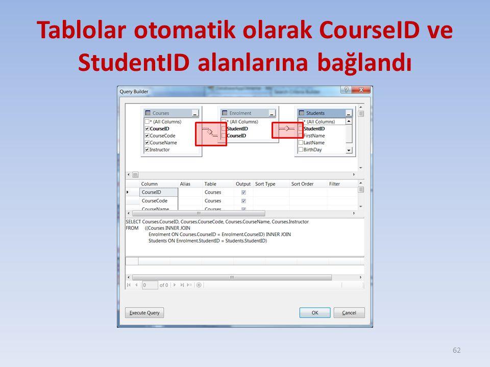 Tablolar otomatik olarak CourseID ve StudentID alanlarına bağlandı