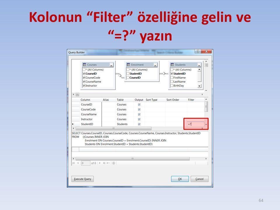 Kolonun Filter özelliğine gelin ve = yazın