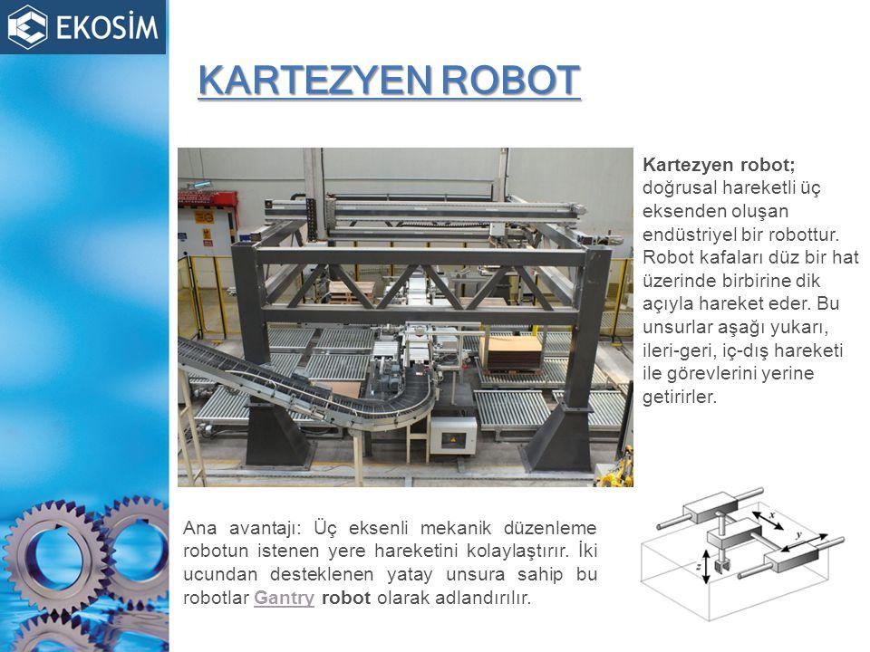 KARTEZYEN ROBOT Kartezyen robot; doğrusal hareketli üç eksenden oluşan endüstriyel bir robottur.