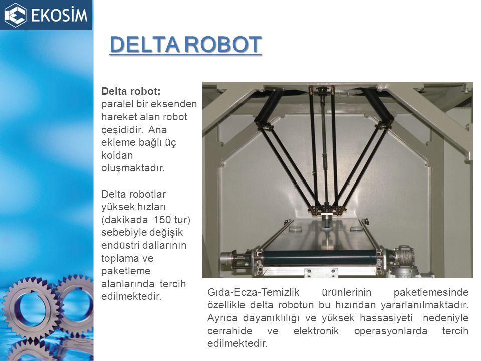 DELTA ROBOT Delta robot; paralel bir eksenden hareket alan robot çeşididir. Ana ekleme bağlı üç koldan oluşmaktadır.