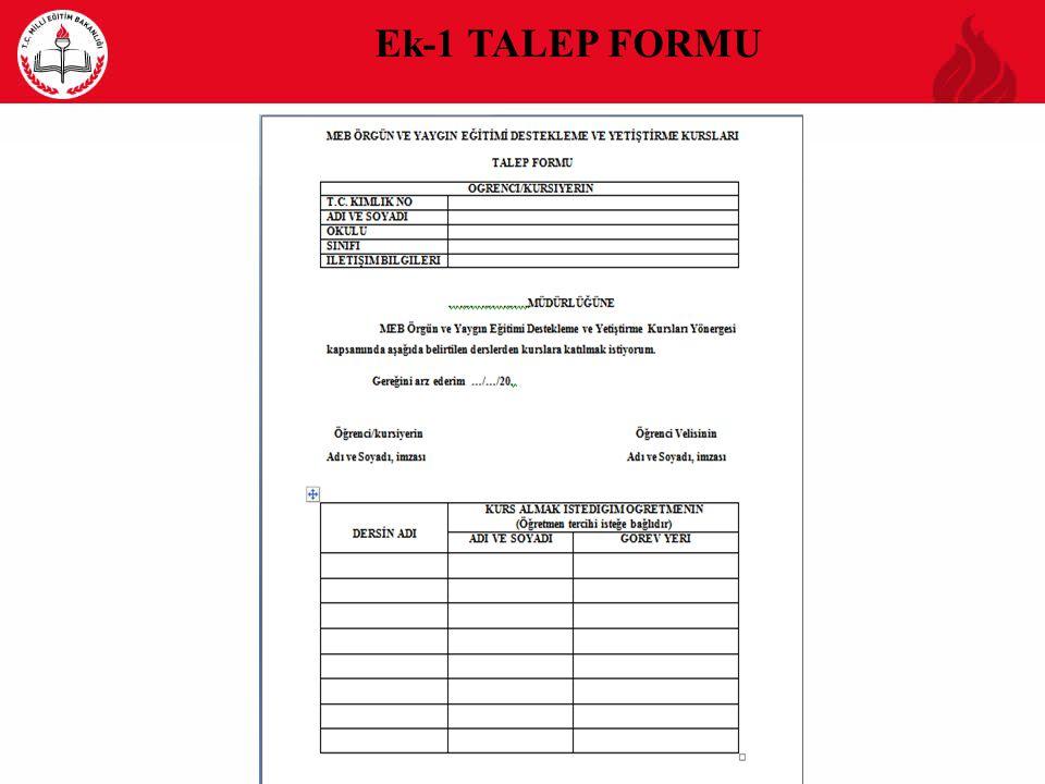 Ek-1 TALEP FORMU