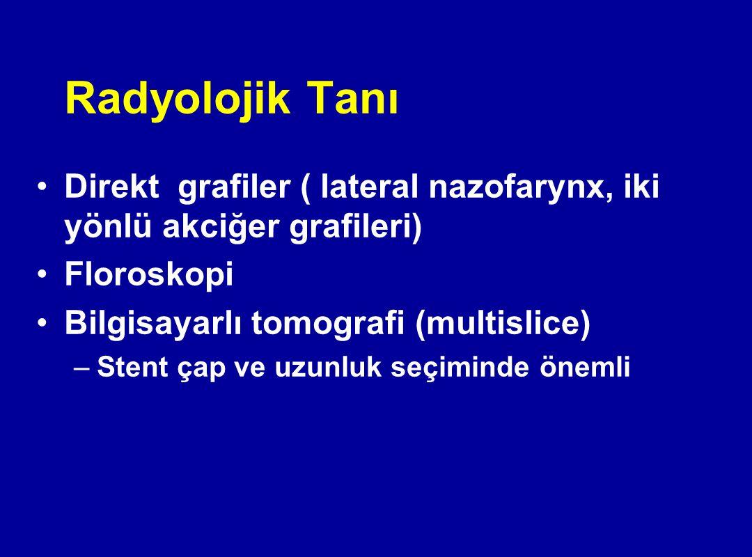 Radyolojik Tanı Direkt grafiler ( lateral nazofarynx, iki yönlü akciğer grafileri) Floroskopi. Bilgisayarlı tomografi (multislice)