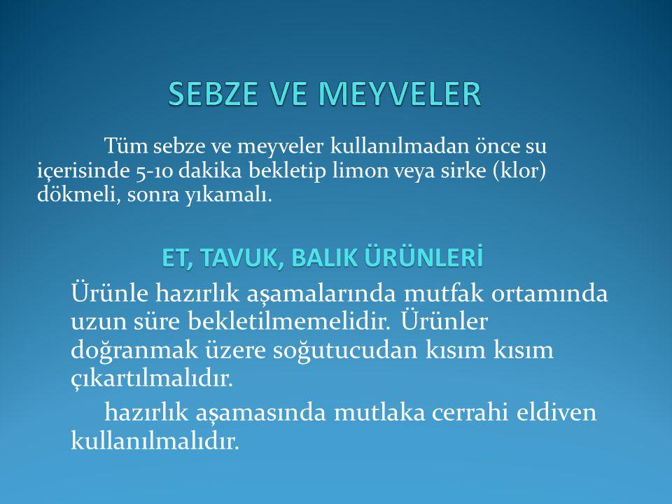 ET, TAVUK, BALIK ÜRÜNLERİ