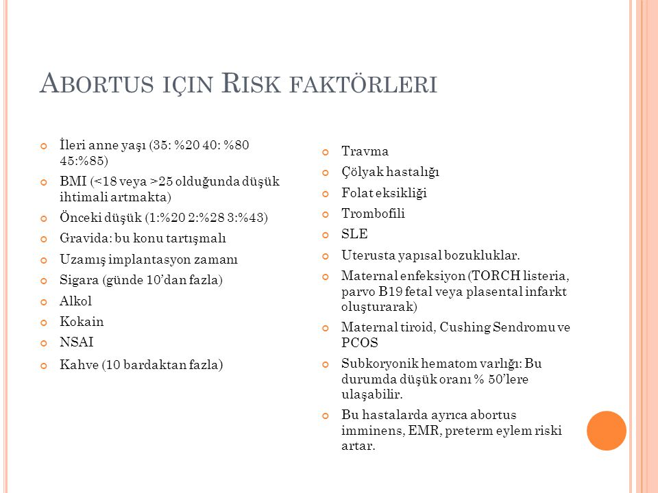 Abortus için Risk faktörleri
