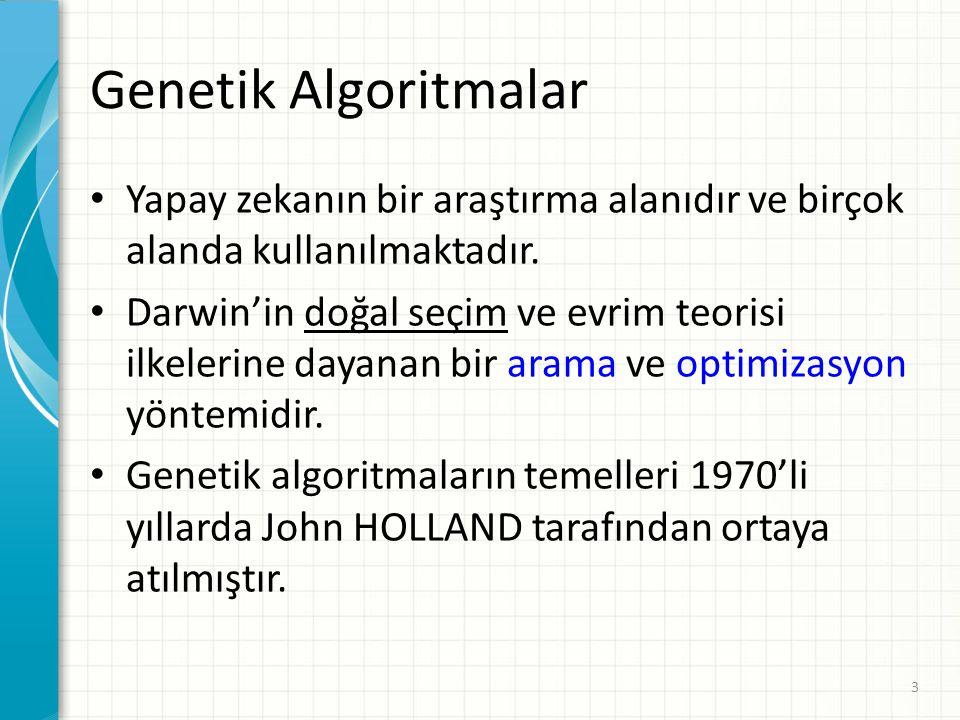 Genetik Algoritmalar Yapay zekanın bir araştırma alanıdır ve birçok alanda kullanılmaktadır.