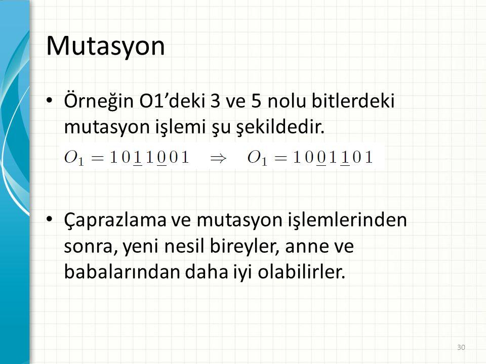 Mutasyon Örneğin O1'deki 3 ve 5 nolu bitlerdeki mutasyon işlemi şu şekildedir.