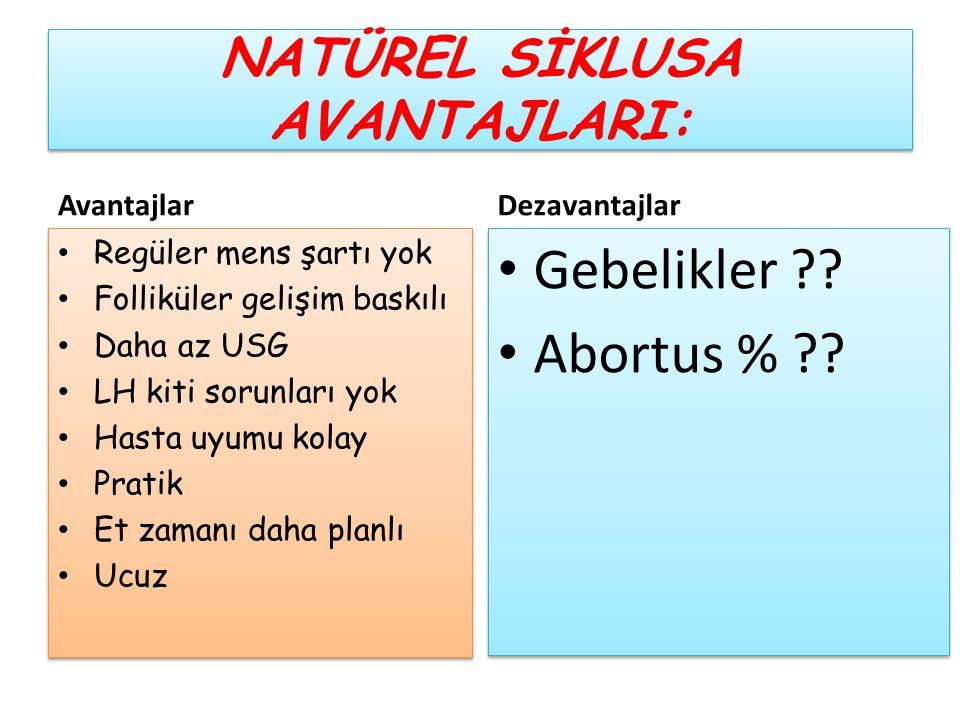 NATÜREL SİKLUSA AVANTAJLARI: