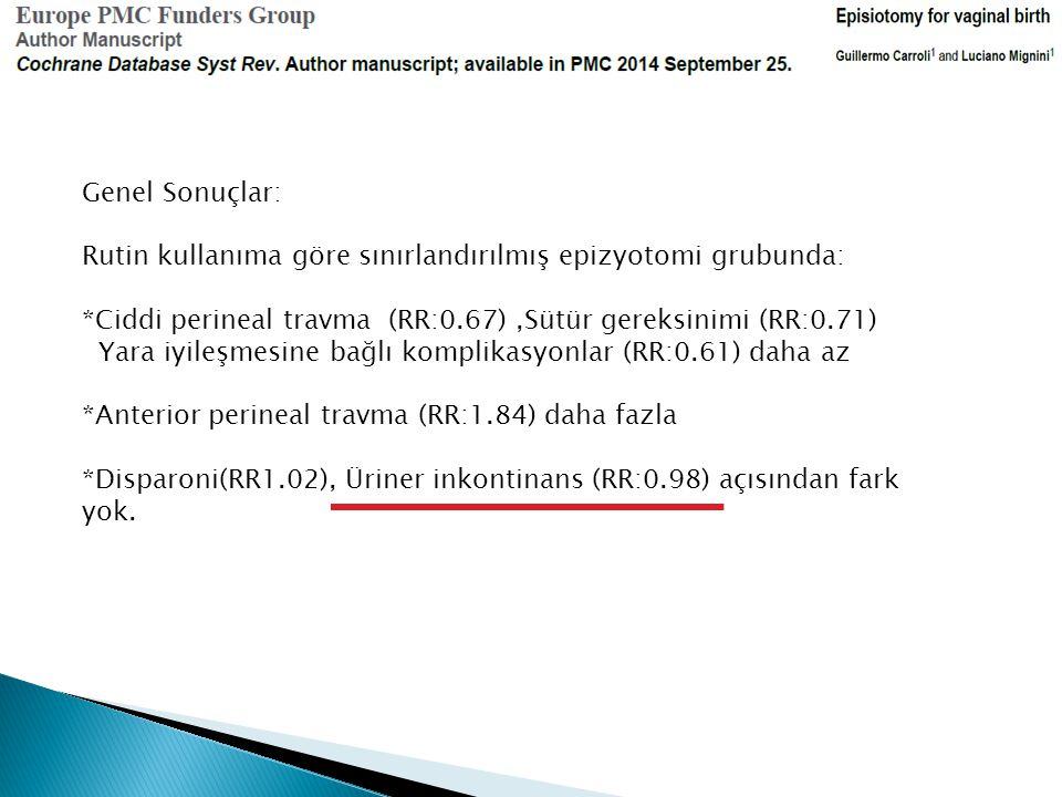 Genel Sonuçlar: Rutin kullanıma göre sınırlandırılmış epizyotomi grubunda: *Ciddi perineal travma (RR:0.67) ,Sütür gereksinimi (RR:0.71)