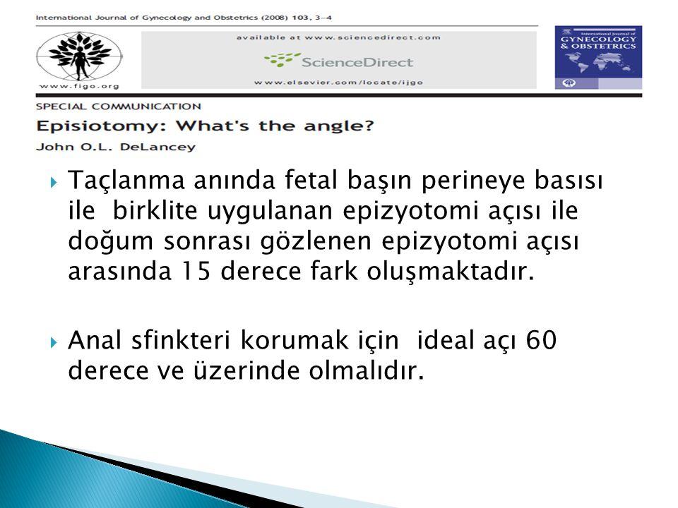 Anal sfinkteri korumak için ideal açı 60 derece ve üzerinde olmalıdır.
