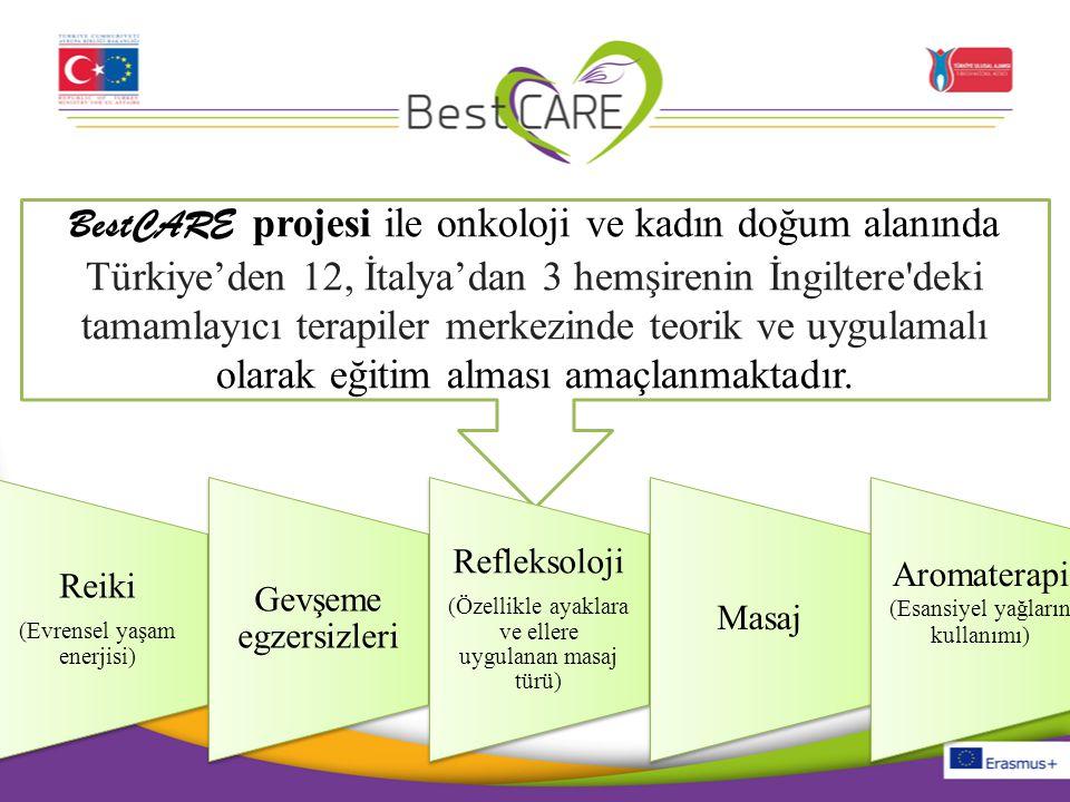 BestCARE projesi ile onkoloji ve kadın doğum alanında Türkiye'den 12, İtalya'dan 3 hemşirenin İngiltere deki tamamlayıcı terapiler merkezinde teorik ve uygulamalı olarak eğitim alması amaçlanmaktadır.