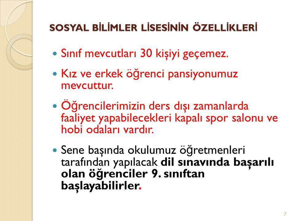 SOSYAL BİLİMLER LİSESİNİN ÖZELLİKLERİ