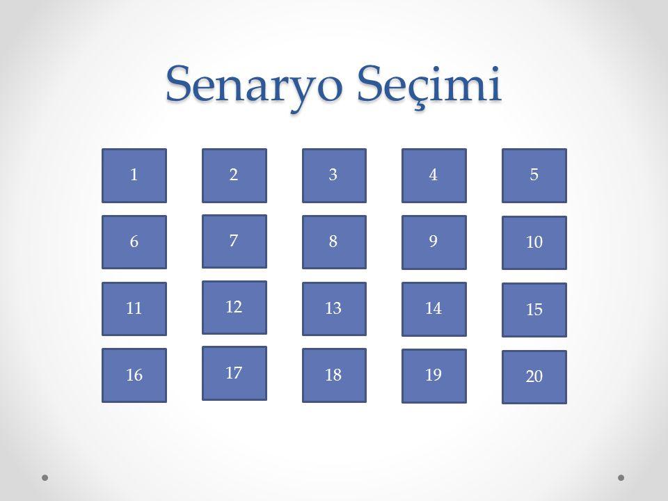 Senaryo Seçimi 1 2 3 4 5 6 7 8 9 10 11 12 13 14 15 16 17 18 19 20