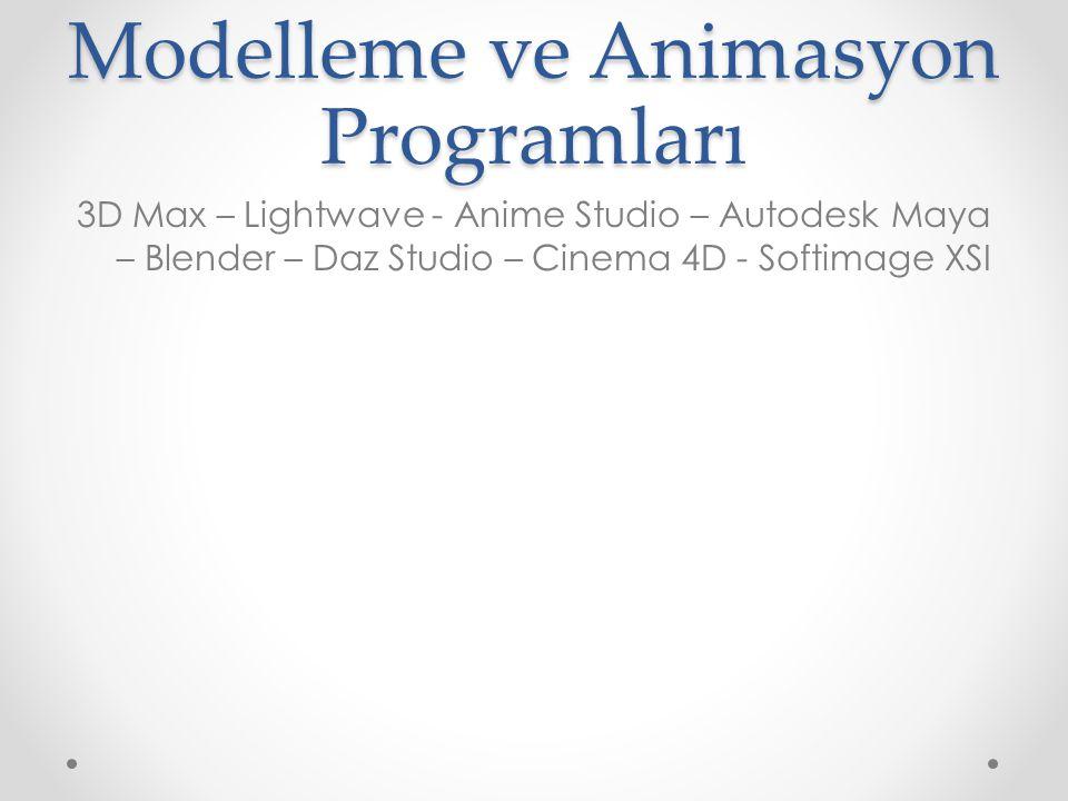 Modelleme ve Animasyon Programları