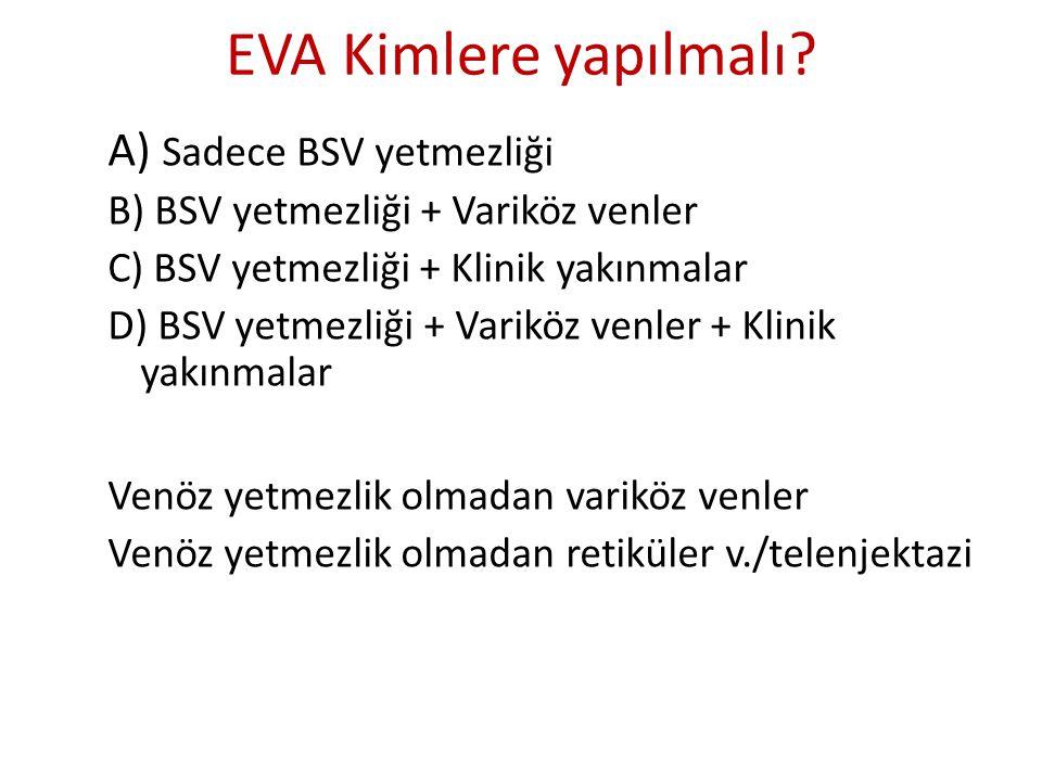 EVA Kimlere yapılmalı A) Sadece BSV yetmezliği