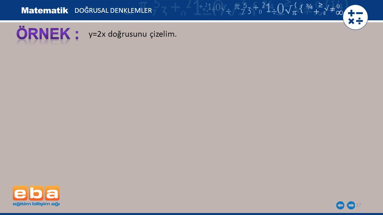 DOĞRUSAL DENKLEMLER ÖRNEK : y=2x doğrusunu çizelim.