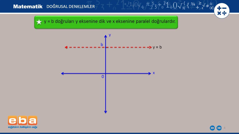 y = b doğruları y eksenine dik ve x eksenine paralel doğrulardır.