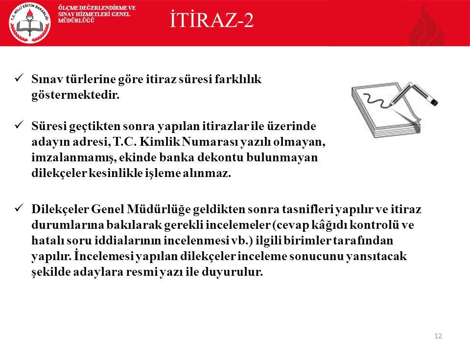 İTİRAZ-2 Sınav türlerine göre itiraz süresi farklılık göstermektedir.