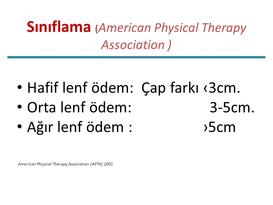 Sınıflama (American Physical Therapy Association )