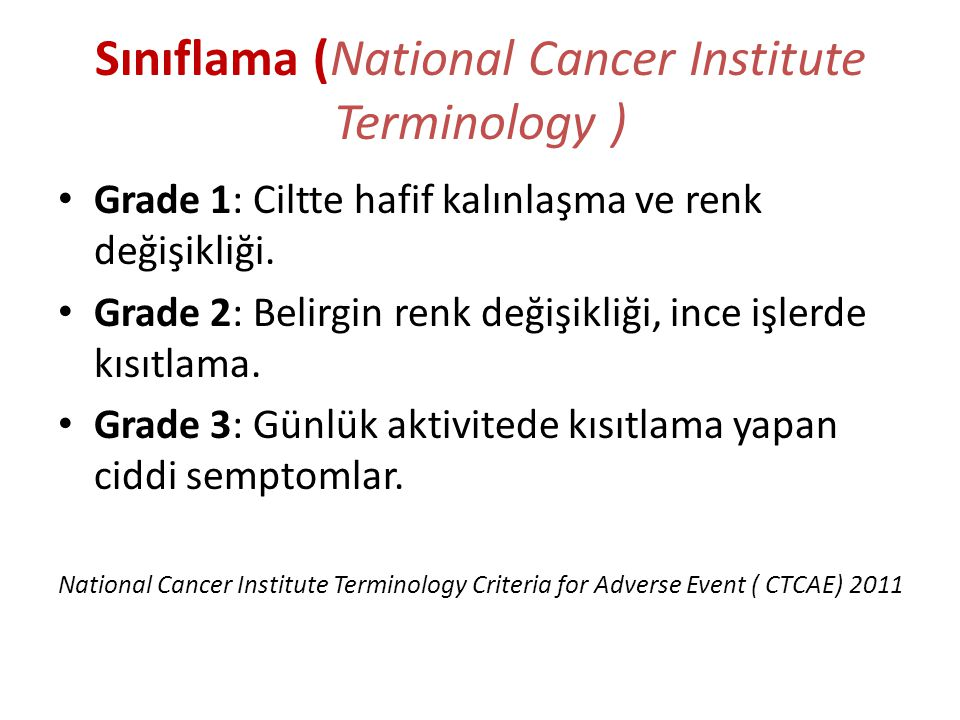 Sınıflama (National Cancer Institute Terminology )