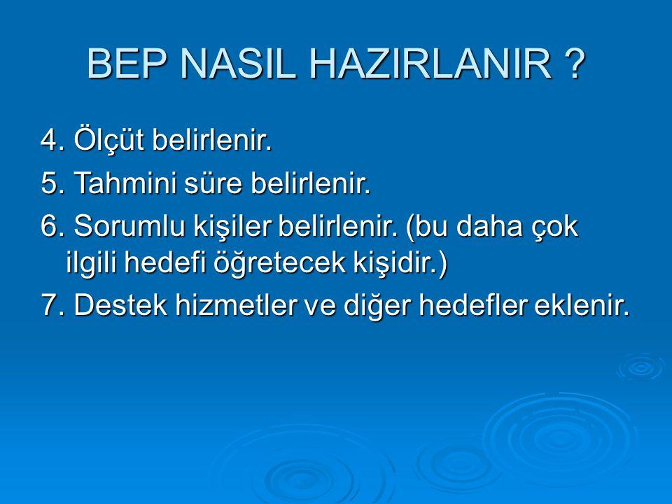 BEP NASIL HAZIRLANIR 4. Ölçüt belirlenir.