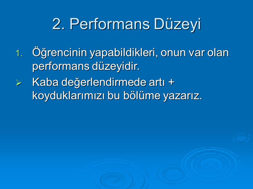 2. Performans Düzeyi Öğrencinin yapabildikleri, onun var olan performans düzeyidir.