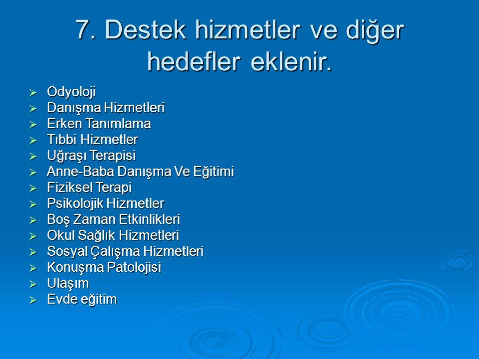 7. Destek hizmetler ve diğer hedefler eklenir.