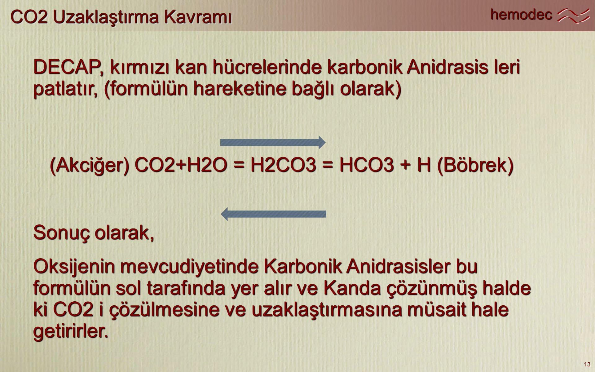 (Akciğer) CO2+H2O = H2CO3 = HCO3 + H (Böbrek)
