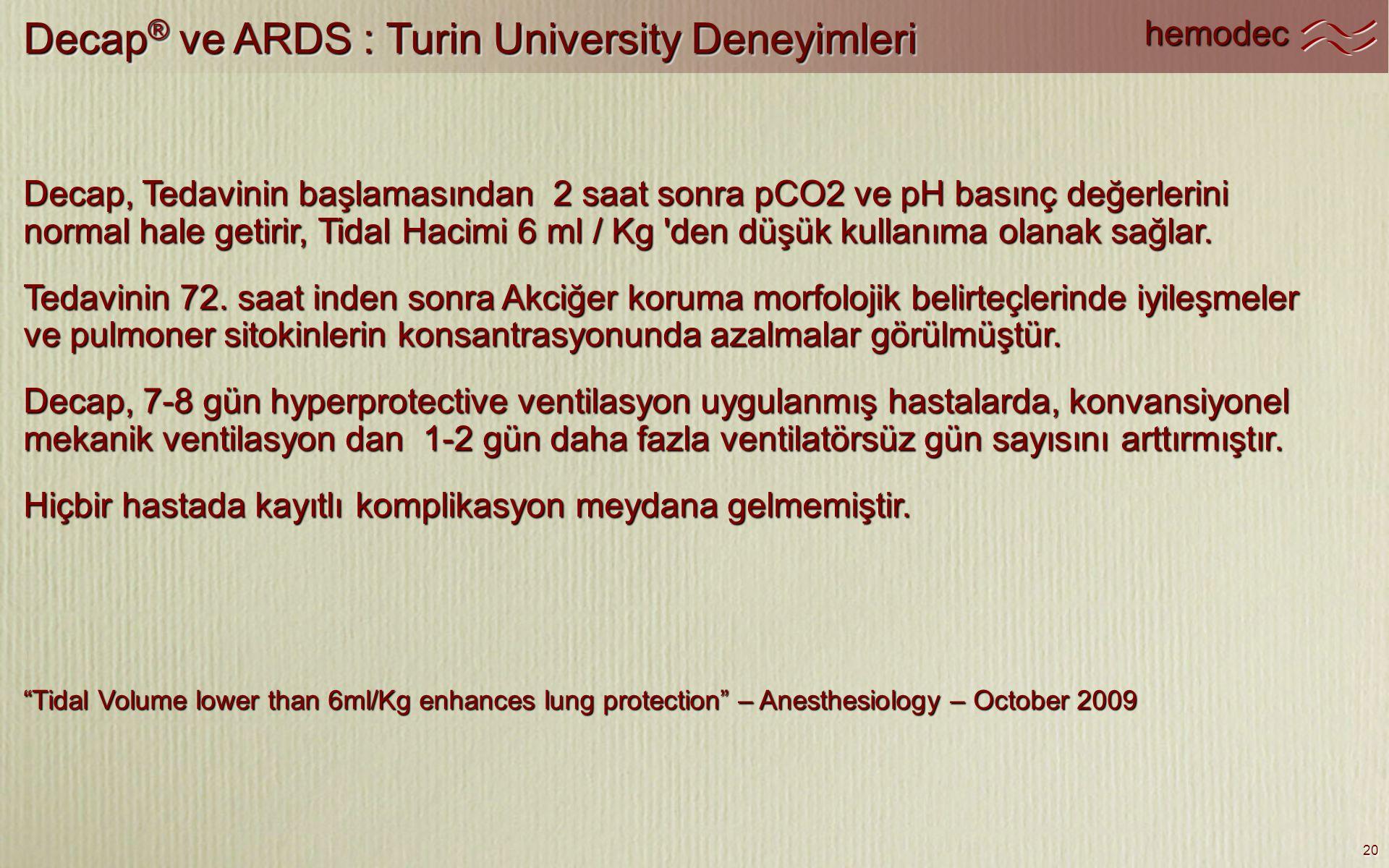 Decap® ve ARDS : Turin University Deneyimleri